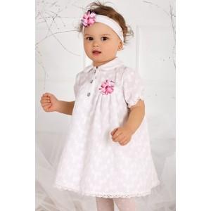 10a1f41e88e6 Bielo ružové bavlnené šaty s čelenkou - BeBaby - Všetko pre Vaše detičky